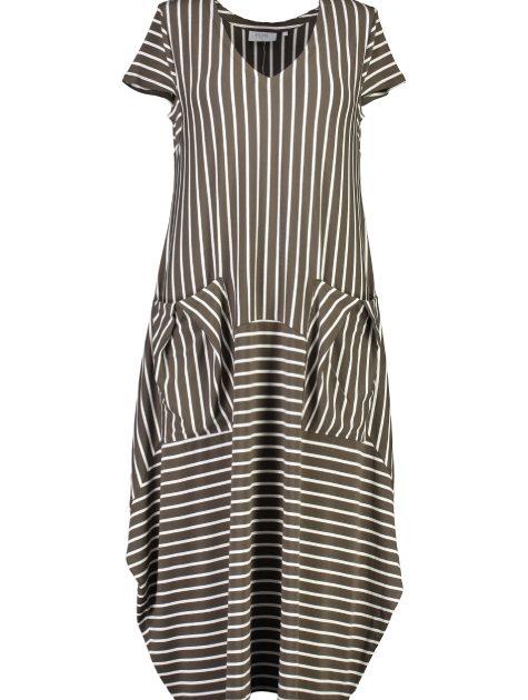 6133 Dress - olive stripe_Front