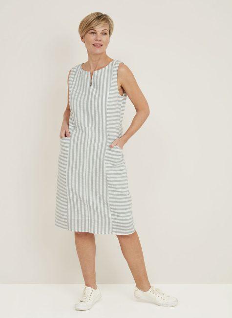 Daria Dress Seersucker Stripe-114856SCDUSTY_GREEN_FRONT