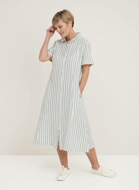 Diana Dress Seersucker Stripe_114858SCDUSTY_GREEN_Front2