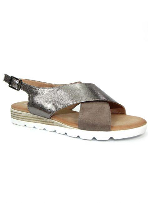 Linzi Pewter Cross Over Sandal