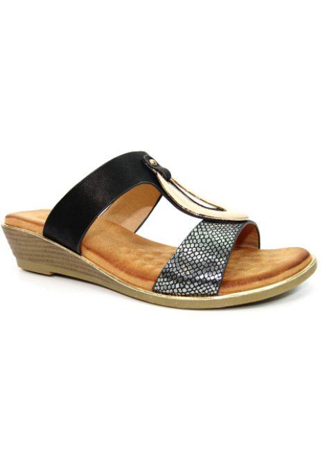 Pennita Black Low Wedge Sandal