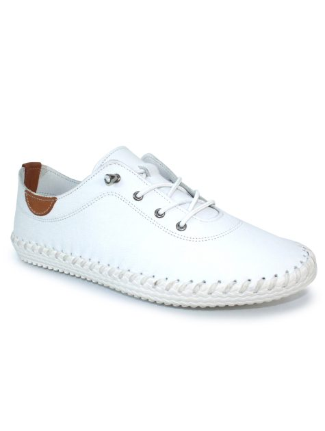 St Ives White Leather Plimsoll